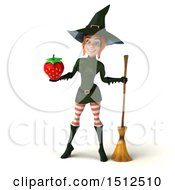 Clipart Of A 3d Sexy Green Witch Holding A Strawberry On A White Background Royalty Free Illustration