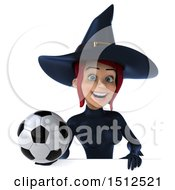 Clipart Of A 3d Sexy Blue Witch Holding A Soccer Ball On A White Background Royalty Free Illustration