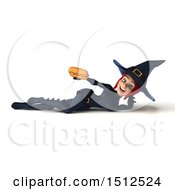 Clipart Of A 3d Sexy Blue Witch Holding A Hot Dog On A White Background Royalty Free Illustration
