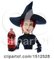 Clipart Of A 3d Sexy Blue Witch Holding A Soda On A White Background Royalty Free Illustration