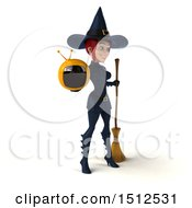 Clipart Of A 3d Sexy Blue Witch Holding A Tv On A White Background Royalty Free Illustration