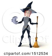 Clipart Of A 3d Sexy Blue Witch Holding A Euro On A White Background Royalty Free Illustration