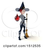 Clipart Of A 3d Sexy Blue Witch Holding A Bood Drop On A White Background Royalty Free Illustration