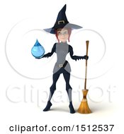 Clipart Of A 3d Sexy Blue Witch Holding A Water Drop On A White Background Royalty Free Illustration