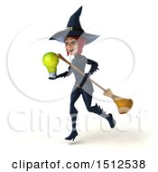 Clipart Of A 3d Sexy Blue Witch Holding A Light Bulb On A White Background Royalty Free Illustration