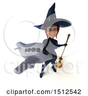 Clipart Of A 3d Sexy Blue Witch Holding A Plane On A White Background Royalty Free Illustration