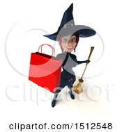 Clipart Of A 3d Sexy Blue Witch Holding A Shopping Bag On A White Background Royalty Free Illustration
