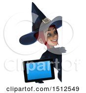 Clipart Of A 3d Sexy Blue Witch Holding A Tablet On A White Background Royalty Free Illustration