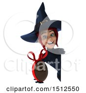 Clipart Of A 3d Sexy Blue Witch Holding A Chocolate Egg On A White Background Royalty Free Illustration