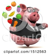 Clipart Of A 3d Chubby Business Pig Holding Produce On A White Background Royalty Free Illustration