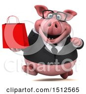 Clipart Of A 3d Chubby Business Pig Holding A Shopping Bag On A White Background Royalty Free Illustration