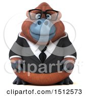 Clipart Of A 3d Business Orangutan Monkey On A White Background Royalty Free Illustration