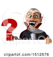Clipart Of A 3d Dracula Vampire Holding A Question Mark On A White Background Royalty Free Illustration