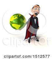 Clipart Of A 3d Dracula Vampire Holding A Globe On A White Background Royalty Free Illustration