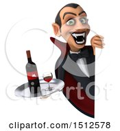 Clipart Of A 3d Dracula Vampire Holding A Wine Tray On A White Background Royalty Free Illustration