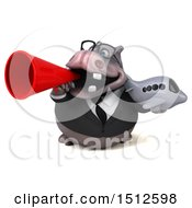 Clipart Of A 3d Business Reggie Rhinoceros Holding A Plane On A White Background Royalty Free Illustration