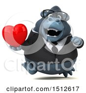 Clipart Of A 3d Business Gorilla Mascot Holding A Heart On A White Background Royalty Free Illustration