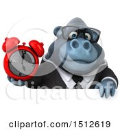 Clipart Of A 3d Business Gorilla Mascot Holding An Alarm Clock On A White Background Royalty Free Illustration