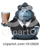 Clipart Of A 3d Business Gorilla Mascot Holding A Beer On A White Background Royalty Free Illustration