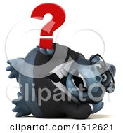 Clipart Of A 3d Business Gorilla Mascot Holding A Question Mark On A White Background Royalty Free Illustration