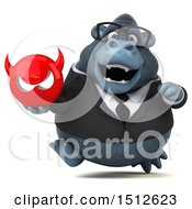 Clipart Of A 3d Business Gorilla Mascot Holding A Devil On A White Background Royalty Free Illustration