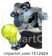 Clipart Of A 3d Business Gorilla Mascot Holding A Light Bulb On A White Background Royalty Free Illustration