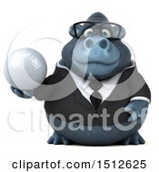 Clipart Of A 3d Business Gorilla Mascot Holding A Golf Ball On A White Background Royalty Free Illustration