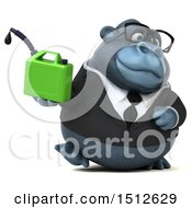 Clipart Of A 3d Business Gorilla Mascot Holding A Gas Can On A White Background Royalty Free Illustration