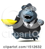 Clipart Of A 3d Business Gorilla Mascot Holding A Banana On A White Background Royalty Free Illustration