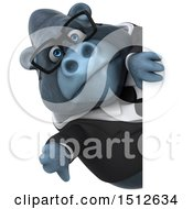 Clipart Of A 3d Business Gorilla Mascot Holding A Thumb Down On A White Background Royalty Free Illustration