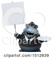 Clipart Of A 3d Business Gorilla Mascot Holding A Plate On A White Background Royalty Free Illustration