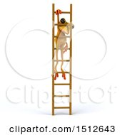 Clipart Of A 3d Yellow Frog Hanging From A Ladder On A White Background Royalty Free Illustration