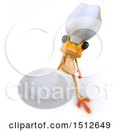 Clipart Of A 3d Yellow Chef Frog Holding A Plate On A White Background Royalty Free Illustration