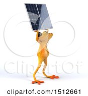 Poster, Art Print Of 3d Yellow Frog Holding Up A Solar Panel On A White Background