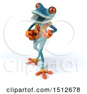 Clipart Of A 3d Blue Frog Playing A Ukulele On A White Background Royalty Free Illustration