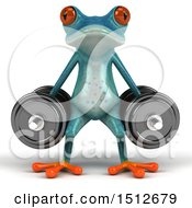 Clipart Of A 3d Blue Frog Doing Dumbbell Squats On A White Background Royalty Free Illustration
