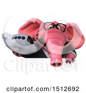 Clipart Of A 3d Pink Business Elephant Holding A Plane On A White Background Royalty Free Illustration