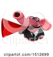 Clipart Of A 3d Pink Business Elephant Using A Megaphone On A White Background Royalty Free Illustration