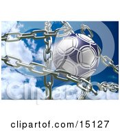 Blue And White Soccer Ball Breaking Through Metal Chains While Making A Goal Symbolizing Breaking Free Strength Victory And Success Clipart Illustration
