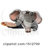 3d Business Elephant Holding A Pizza On A White Background