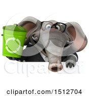 3d Business Elephant Holding A Recycle Bin On A White Background
