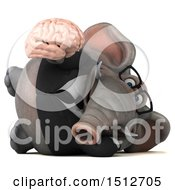 3d Business Elephant Holding A Brain On A White Background