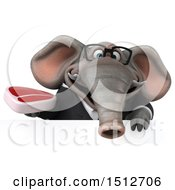 3d Business Elephant Holding A Steak On A White Background