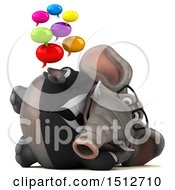 3d Business Elephant Holding Messages On A White Background
