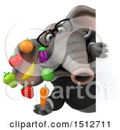 Clipart Of A 3d Business Elephant Holding Produce On A White Background Royalty Free Illustration