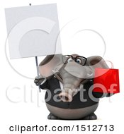 Clipart Of A 3d Business Elephant Holding A Shopping Bag On A White Background Royalty Free Illustration