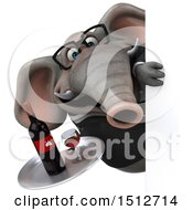 3d Business Elephant Holding Wine On A White Background