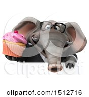 3d Business Elephant Holding A Cupcake On A White Background
