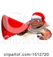 3d Christmas Crab Using A Megaphone On A White Background