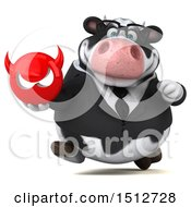3d Business Holstein Cow Holding A Devil On A White Background